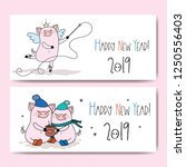 banners with cute pigs and text ... | Shutterstock .eps vector #1250556403