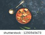 matar paneer curry recipe made... | Shutterstock . vector #1250565673