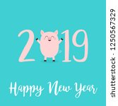 happy new year 2019 pink text.... | Shutterstock . vector #1250567329