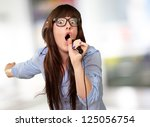 portrait of a young female with ... | Shutterstock . vector #125056754