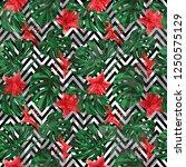 monstera pattern.  summer... | Shutterstock .eps vector #1250575129