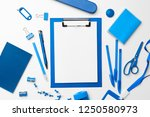 blue color stationery set as... | Shutterstock . vector #1250580973