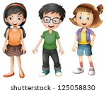 illustration of a boy and girls ... | Shutterstock . vector #125058830