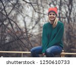 happy woman at wintertime.  | Shutterstock . vector #1250610733