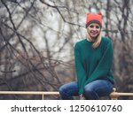 happy woman at wintertime.  | Shutterstock . vector #1250610760