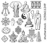 buddhism religion icons and... | Shutterstock .eps vector #1250611249
