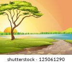 illustration of a river and a... | Shutterstock . vector #125061290
