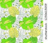 tropical leaves neon trend... | Shutterstock .eps vector #1250615059
