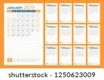 calendar 2019 year in simple... | Shutterstock .eps vector #1250623009