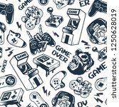 vintage gaming seamless pattern ... | Shutterstock .eps vector #1250628019