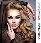 closeup face of a beautiful... | Shutterstock . vector #1250634610