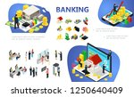 isometric banking composition...   Shutterstock .eps vector #1250640409