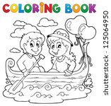 coloring book love theme image... | Shutterstock .eps vector #125064950