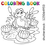 coloring book river fauna image ... | Shutterstock .eps vector #125064953