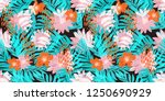 exotic flowers pattern design.... | Shutterstock . vector #1250690929
