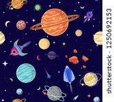 seamless pattern of planets in... | Shutterstock .eps vector #1250692153