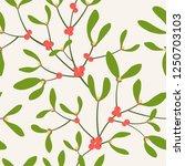 seamless pattern with mistletoe ... | Shutterstock .eps vector #1250703103
