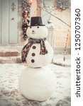snowman in the yard new year... | Shutterstock . vector #1250707360