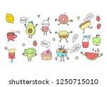 funny cartoon food in kawaii... | Shutterstock .eps vector #1250715010