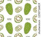 noni. fruit  leaves  text.... | Shutterstock .eps vector #1250716819
