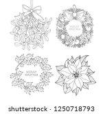 christmas wreath  poinsettia ... | Shutterstock .eps vector #1250718793