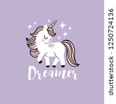 cute vector baby unicorns with... | Shutterstock .eps vector #1250724136