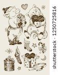 christmas set  bear  rabbit and ... | Shutterstock .eps vector #1250725816
