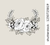 blooming flower. hand drawn... | Shutterstock .eps vector #1250725819