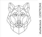 polygonal portrait of a wolf.... | Shutterstock .eps vector #1250791543
