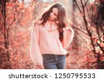 young woman in living coral...   Shutterstock . vector #1250795533