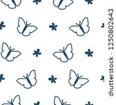 pattern with butterfly and...   Shutterstock . vector #1250802643