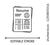 resume linear icon. thin line... | Shutterstock .eps vector #1250805316