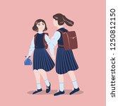pair of girls dressed in school ... | Shutterstock .eps vector #1250812150