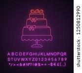 wedding cake neon light icon.... | Shutterstock .eps vector #1250812990