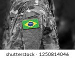 flag of brazil on soldiers arm. ... | Shutterstock . vector #1250814046