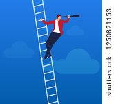 businessman climbs the ladder... | Shutterstock .eps vector #1250821153