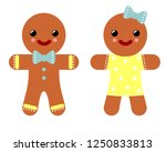 gingerbread couple. boy and... | Shutterstock .eps vector #1250833813