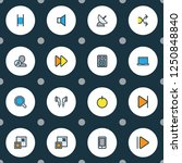 multimedia icons colored line... | Shutterstock . vector #1250848840