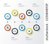 multimedia icons colored line... | Shutterstock .eps vector #1250848939