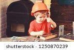 boy play as builder or repairer ... | Shutterstock . vector #1250870239