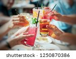 group of friends drinking... | Shutterstock . vector #1250870386