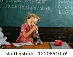 little girl learn using...   Shutterstock . vector #1250891059