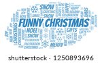 funny christmas word cloud. | Shutterstock . vector #1250893696