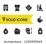 medicine icons set with medical ...