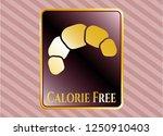 golden emblem with croissant... | Shutterstock .eps vector #1250910403