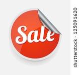 red sale sticker on white | Shutterstock .eps vector #125091620