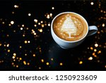 tasty cappuccino with christmas ... | Shutterstock . vector #1250923609