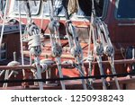 ropes on an old vessel  sailing  | Shutterstock . vector #1250938243