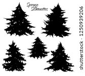 black silhouettes of spruces of ... | Shutterstock .eps vector #1250939206