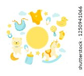 baby shower set with blank... | Shutterstock .eps vector #1250941066